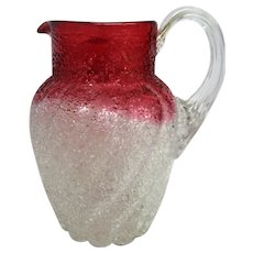 RARE Cranberry and white Overshot Pitcher