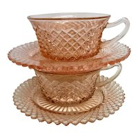 Two Pink Miss America Depression Glass Cups and Saucers