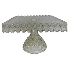 Fostoria American Pattern Elegant Glass Square Cake Stand
