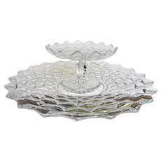 Two piece Fostoria American Glass  Cheese and Cracker Tray Set