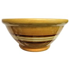 Large Four Band Vintage Yellow Ware Mixing Bowl