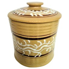 Stunning Hand Painted Seaweed Lidded Yellow Ware Tall Container