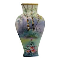 Hand Painted Pickard Vellum Garden Scene Vase Artist Signed
