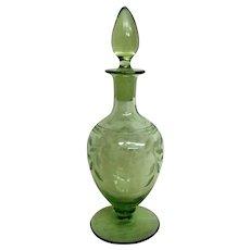 Stunning Green Cut Floral Footed Elegant Depression Glass Perfume Bottle