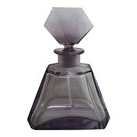 Stunning Czechoslovakia Cut Lavender, Violet Perfume Bottle with complete Dauber