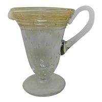 Pairpoint Controlled Bubble Threaded Footed Creamer Pitcher