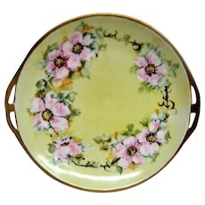 Hand Painted Wild Rose Bavarian Two Handled Cake Plate