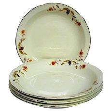 Four Autumn Leaf, Jewel Tea, Hall Rimmed Soup Bowls