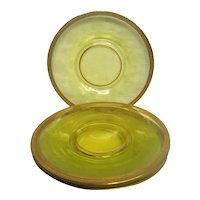 Five Yellow Green Etched Depression Glass Gold Rimmed Plates