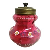 Hand Painted Enameled Cranberry Sugar Shaker