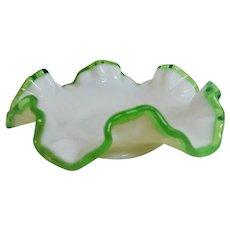 Fenton Emerald Crest Ruffled Bon Bon Dish