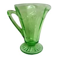 Cameo Ballerina Footed Tall Green Depression Glass Creamer
