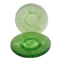 Four Green Cameo Ballerina Depression Glass Sherbet Plates