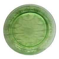 "RARE Green Cameo Ballerina 10-1/2"" Rimmed Depression Glass Dinner Plate"