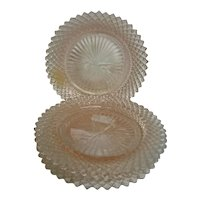 Four Pink Miss America Sherbet Depression Glass Plates