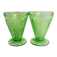 Two Green Footed Cherry Blossom Depression Glass Juice Tumblers