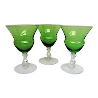 Three 3 Elegant Glass Cambridge Forest Green Footed Cocktail Goblets
