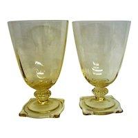 Two Elegant Heisey Sahara Yellow Saxony Footed Water Goblet