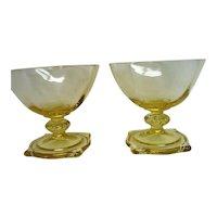 Two 2 Elegant Heisey Sahara Yellow Footed Saxony Sherbets