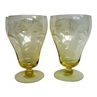 Two 2  Sahara Yellow Footed Etched Water Goblets