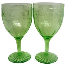 Two Green Depression Glass Cameo Ballerina Footed Water Goblets