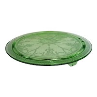 Green Depression Cameo Ballerina 3 Footed Cake Stand