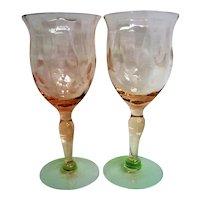 RARE Tiffin Watermelon Footed Cordial Elegant Depression Glass Goblets