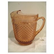 Pink Miss America Depression Glass Pitcher with Ice Lip
