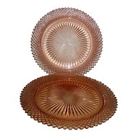 Two Pink Depression Glass Miss America Dinner Plates