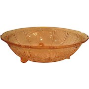 Pink Cherry Blossom Depression Glass Footed Fruit Bowl