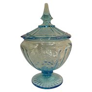 Blue Mayfair Open Rose Vintage Depression Glass Covered Footed Candy Dish