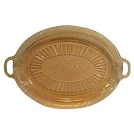 Pink Mayfair Open Rose two handled Depression Glass Oval Platter