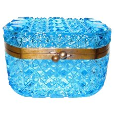 Blue Glass Daisy and Button Jewelry Casket  Box