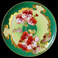 Hand Painted D'Arcy Geranium  Limoges Plate - Red Tag Sale Item