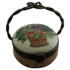 Hand Painted Limoges Porcelain Box in the Shape of a Basket with Metal handle