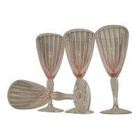 Four Fry Pink Twisted Stem Elegant Depression Glass Water Goblets
