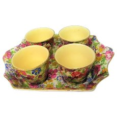 Vintage James Kent Du Berry Chintz Four Egg Cup Set with Two Handled Tray