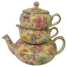 Vintage Lord Nelson Heather Chintz Stacking Tea Pot Complete