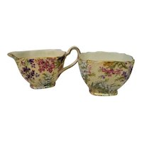 Vintage Lord Nelson Heather Chintz Cream and Sugar