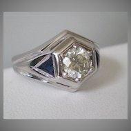 Art Deco 1 Carat Diamond 18K White Gold Sapphires Ring
