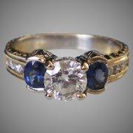 Fine 18k Gold .85  Diamond Blue Sapphire  Ring