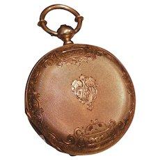 18k Gold  Swiss Key Wind Pocket  Watch