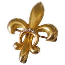 10K Solid Gold Pearl Fleur De Lis Watch Pin c1900