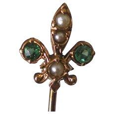 Antique Fleur De Lis 14K Gold Natural Pearl Stick Pin Fine Condition