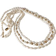 14k Gold Fresh water Pearl Triple Strand Necklace Gold Clasp