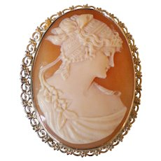 C1920 14K Solid Gold Cameo Pin Pendant Perfect Condition