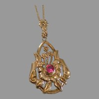 1930 10K Yellow Gold Flower Ruby Pendant 14K Gold Chain