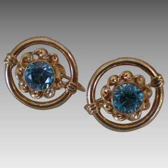C1940 Blue Zircon 14K Gold Earrings Fine Condition