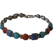 Sterling Silver Coral Turquoise Lapis Hearts Signed Southwest Bracelet