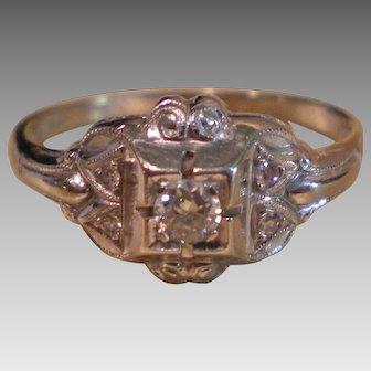 C1920 18K Gold Diamond Ring .20 dtw Size 5 ¾